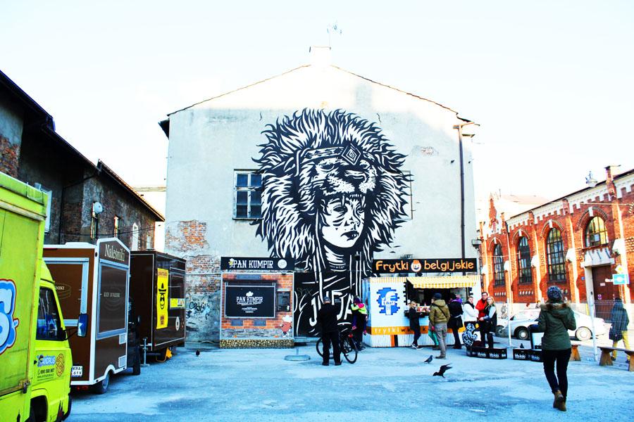 Enjoying the street art in Krakow
