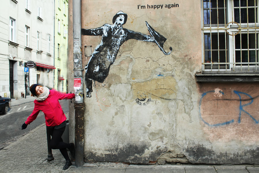 Enjoying the street art in Krakow