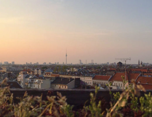Sunset views over Berlin's skyline.