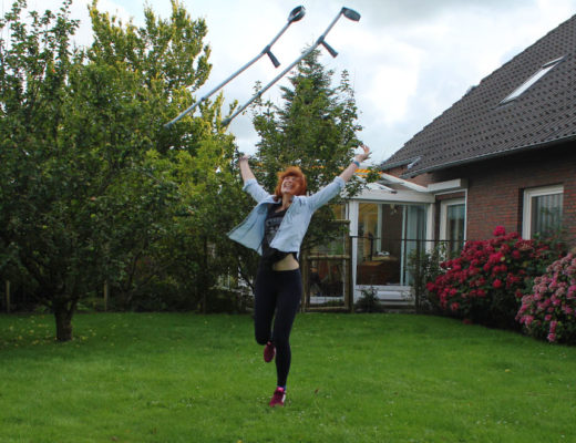 Jumping farewell to my crutches!