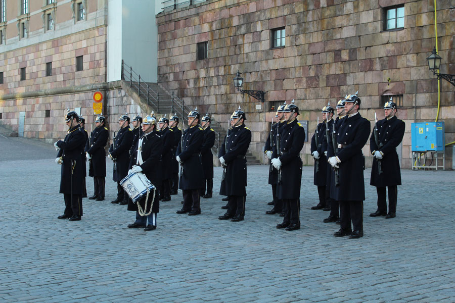 Guards in front of Stockholm's Palace.