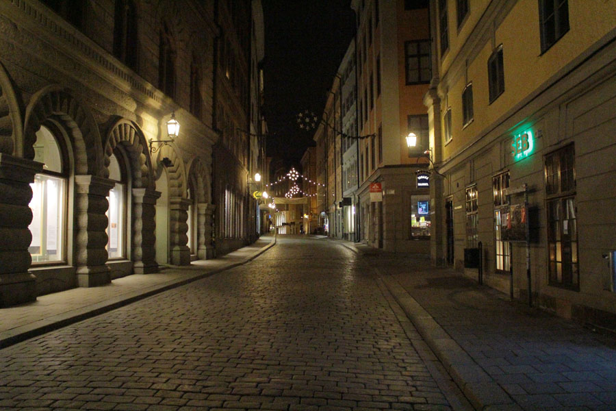 Gamla Stan at night.