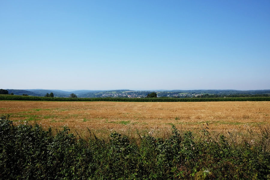 Wide fields along the BahnRadweg Hessen.