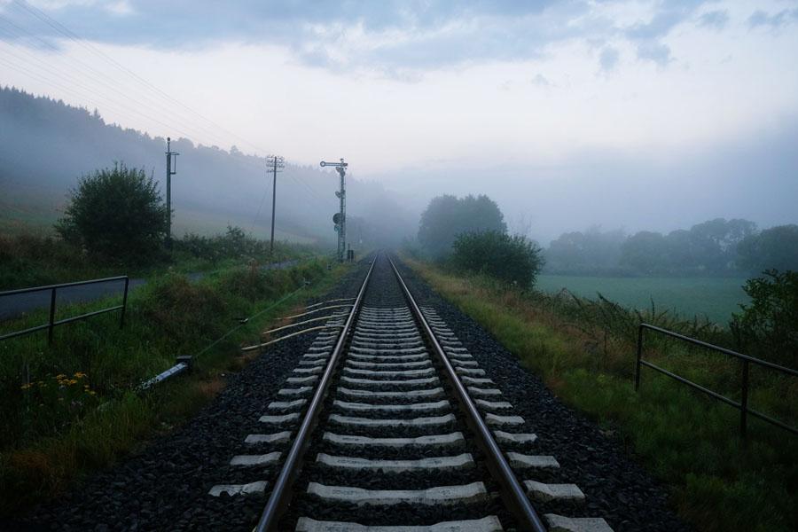 Foggy train-tracks along BahnRadweg Hessen.
