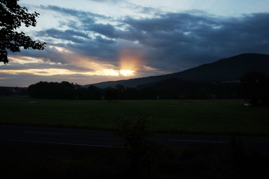 Watching the sunrise during my cycling tour on BahnRadweg Hessen.
