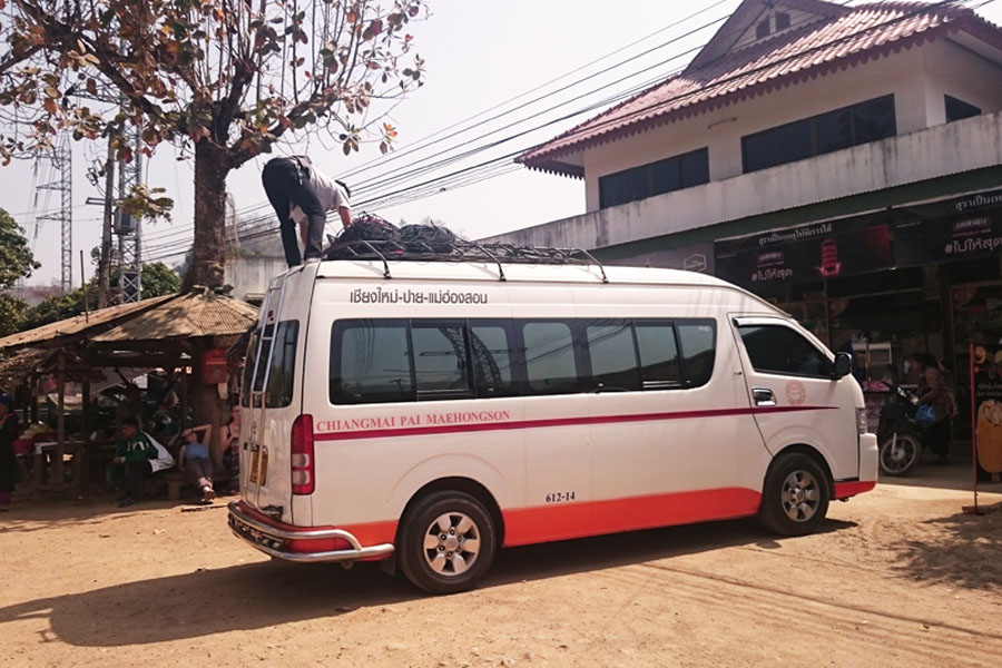 Travel with a bus along the Mae Hong Son Loop.
