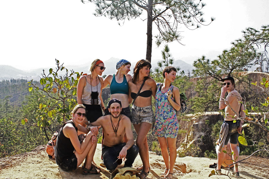 Group hiking in Pai, a city along the Mae Hong Son Loop.