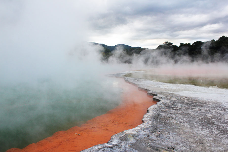 The colorful volcanic surface of Rotorua, New Zealand.