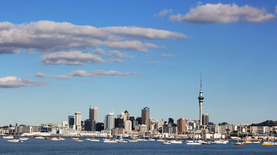 The Skyline of Auckland, New Zealand.