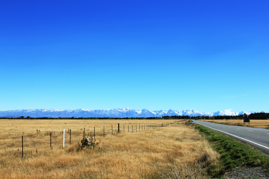 Highway to Mount Cook on New Zealand's South Island