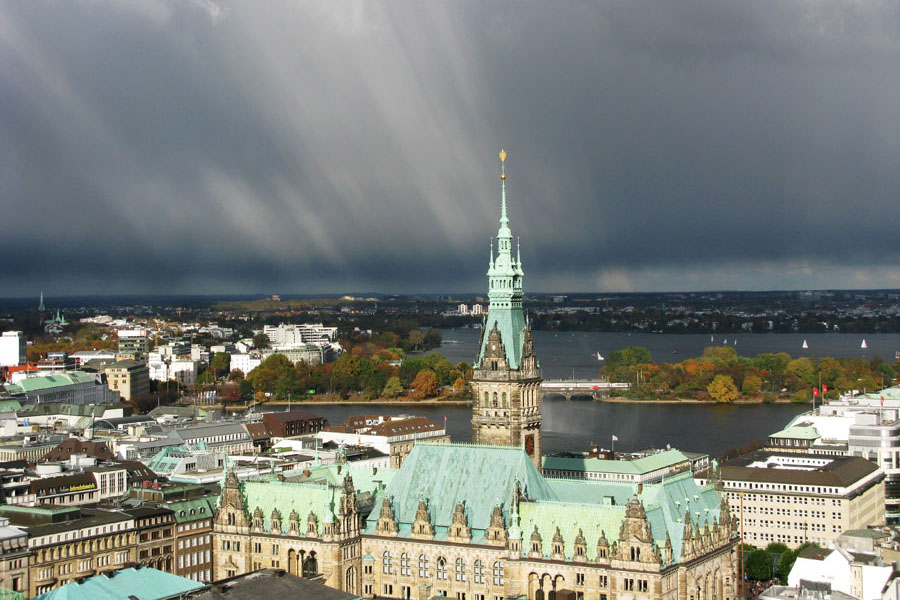 A view from St Nikolai Church over Hamburg's townhall and the Alster lake