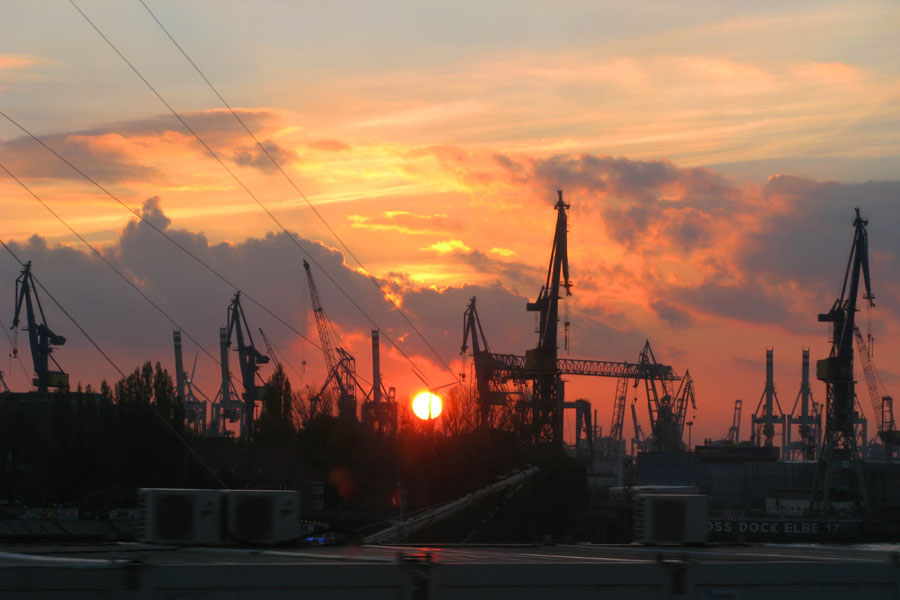 Stunning sunset view over Hamburg's Landungsbrücken
