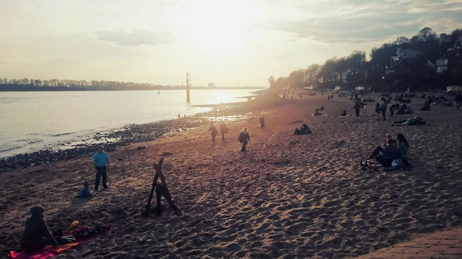 Hamburg's Elbstrand at sunset.