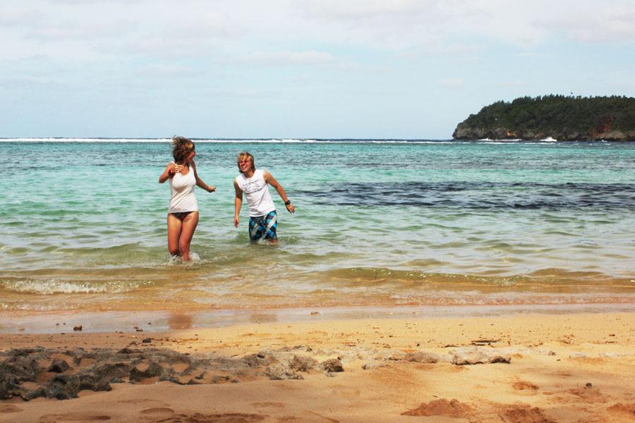 Fooling around on the beach on Vava'u, Tonga.