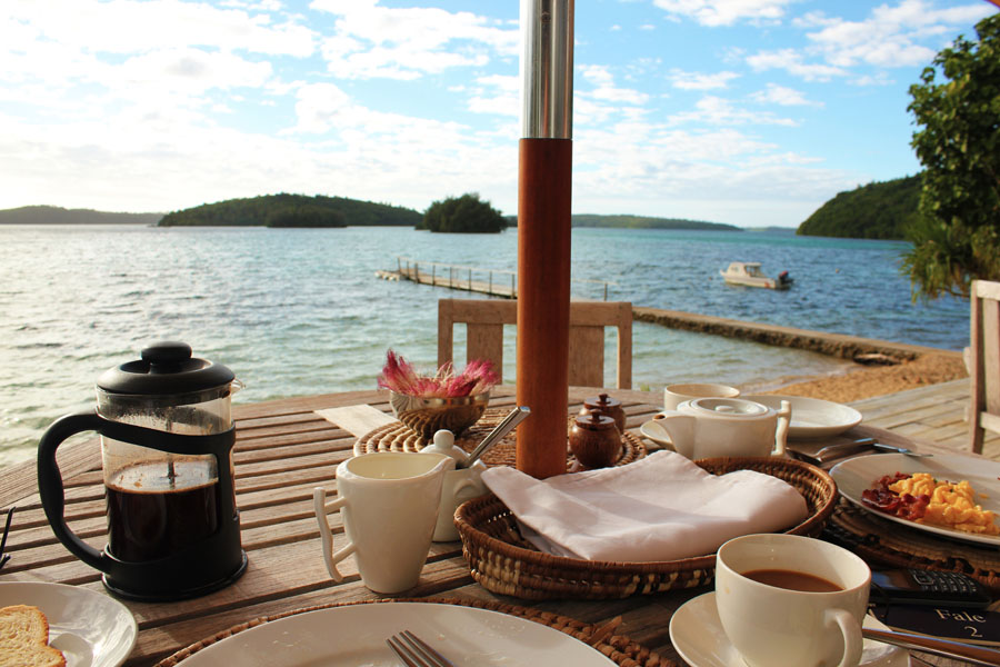 Seaside breakfast on Vava'u, Tonga.