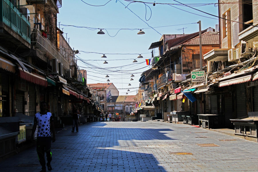 And empty street at Mahane Yehuda Market in Jerusalem