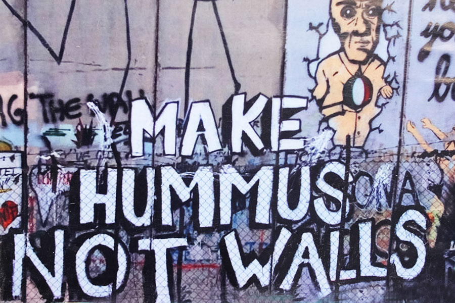 Make Hummus not walls graffiti in Bethlehem