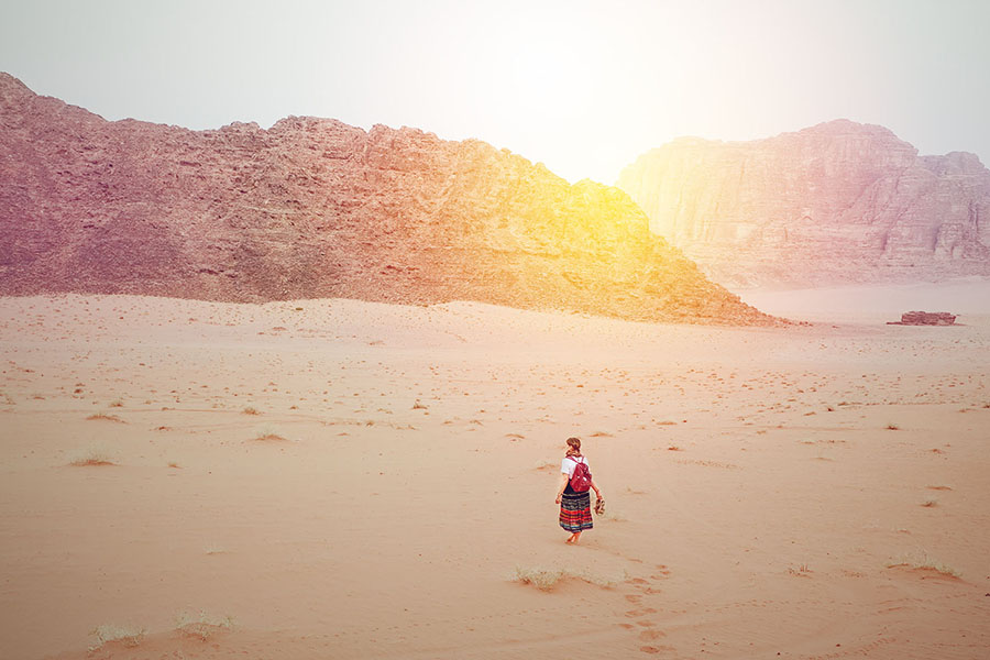 Walking through the desert of Wadi Rum