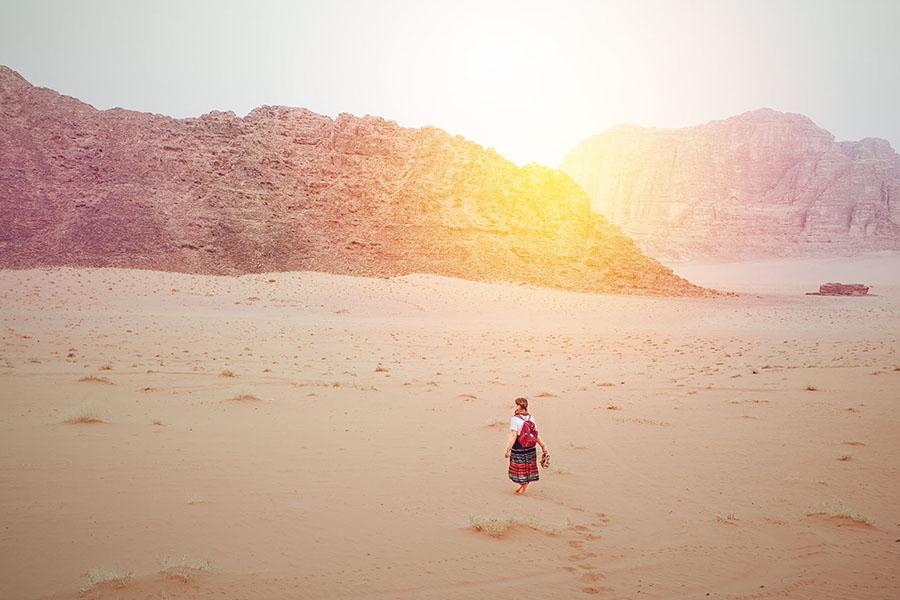 Walking through the desert of Wadi Rum
