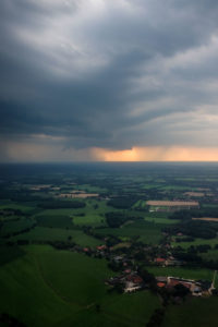 Flying through a storm over the fields of Ostfriesland.