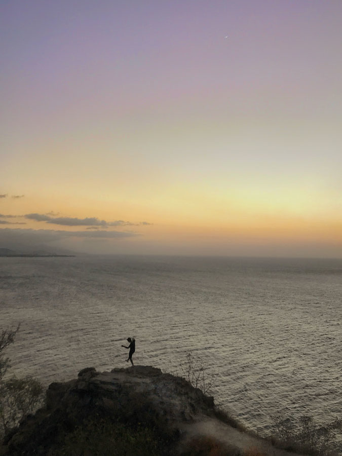 Sunset from Cristo Rei statue in Dili, Timor-Leste