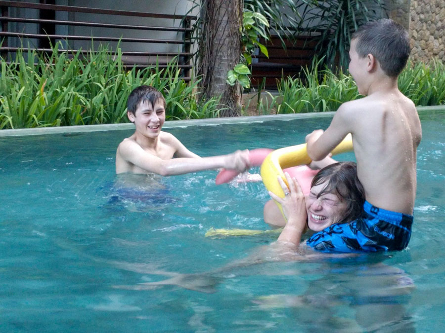 playing with kids in pool