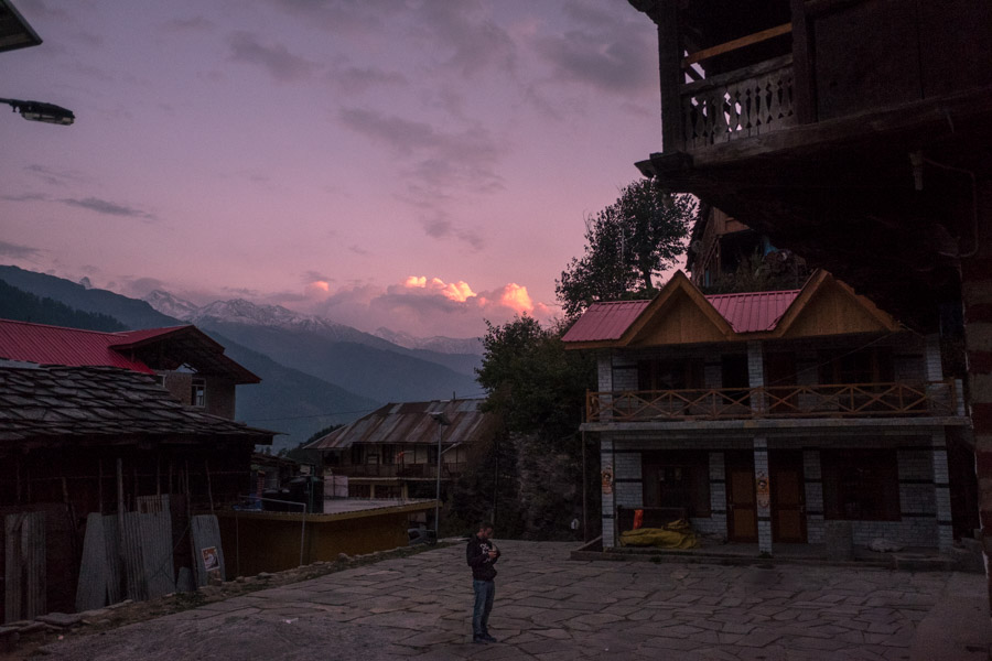 sunset over old manali