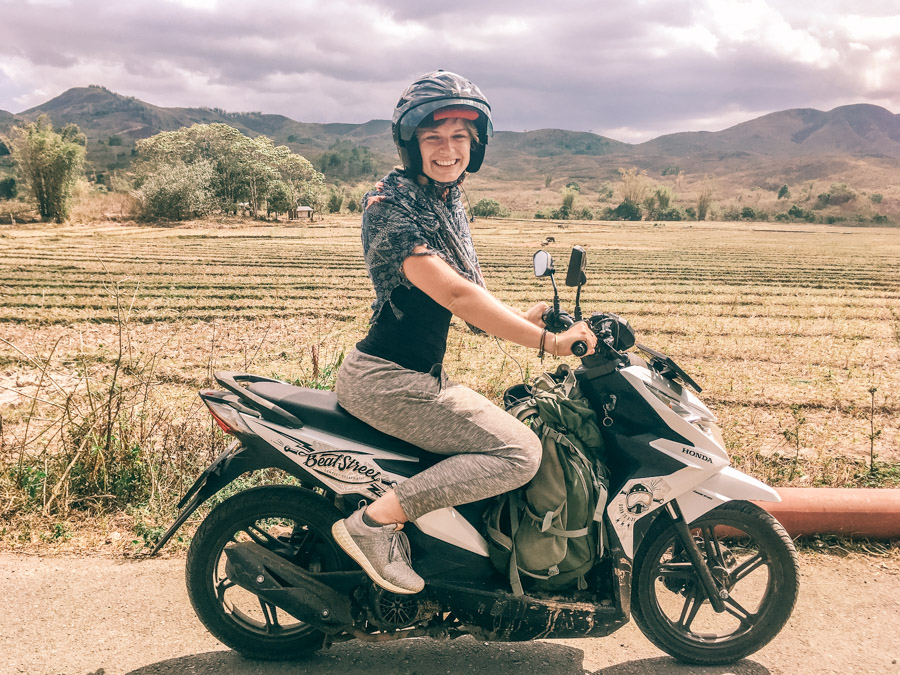 riding my scooter across Flores