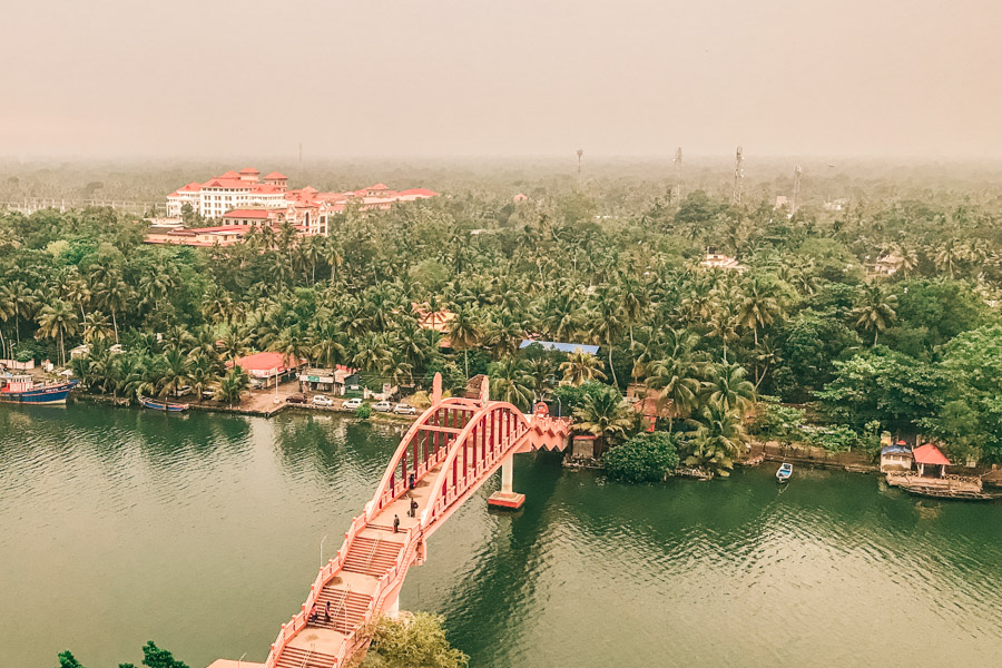 the pink ashram in Kerala